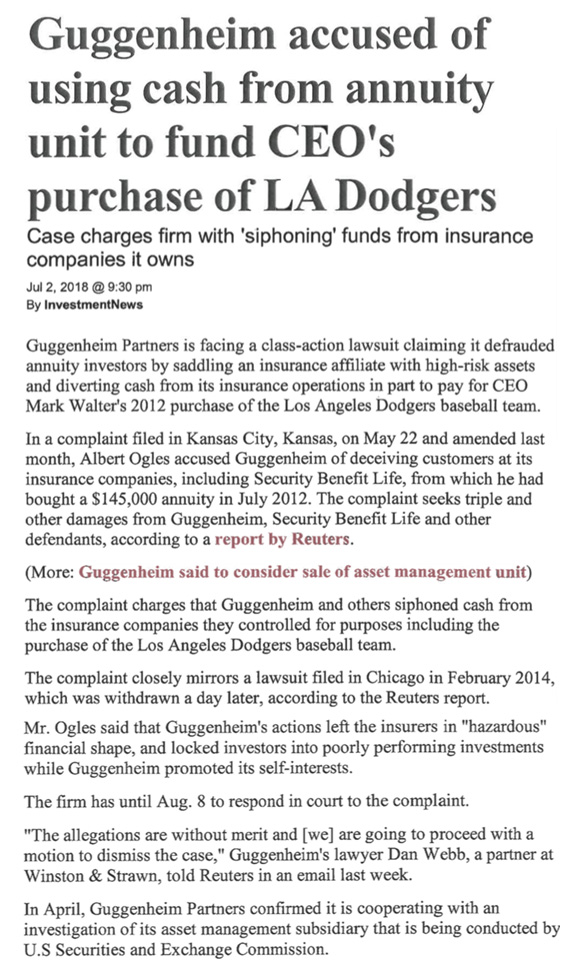 Guggenheim accused of using cash from Annuity unit