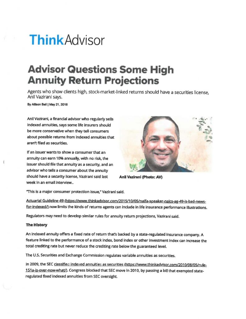 Anil Vazirani, Indexed Annuity Return Projections